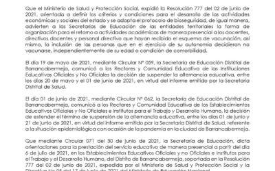PRÓRROGA TÉRMINO DE DURACIÓN DE LA SUSPENSIÓN DE CLASES PRESENCIALES